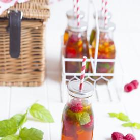 Iced Rooibos Tea with Raspberries