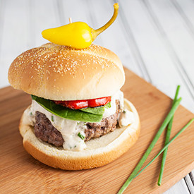 Burgers with Blue Cheese and Chives