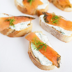 Smoked Salmon and Lemon Dill Toasts