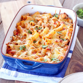Chicken and Tomato Pesto Pasta Bake