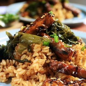 Sticky Miso Rice with Teriyaki Tempeh