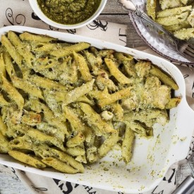 Basil Pesto Chicken Pasta Bake