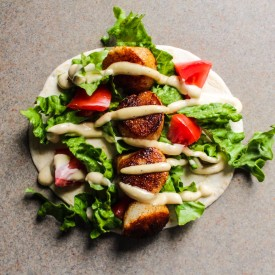 Spicy Scallop Caesar Wraps