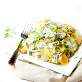 New Potatoes, Squash, and Herb Sauce
