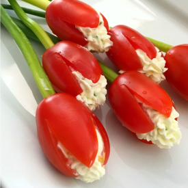 Grape Tomato Cream Cheese Tulips