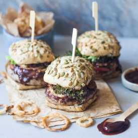 Beer Braised Onion Burgers