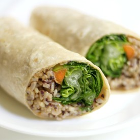 Buffalo Tahini Quinoa and Rice Wraps