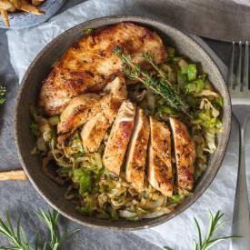 Grilled Chicken on Cabbage