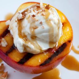 Grilled Peaches w/ Mascarpone Cream