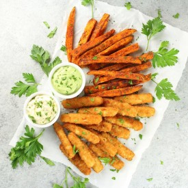 Fish Sticks with Sweet Potato Fries