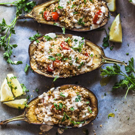 Couscous Stuffed Eggplant