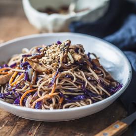 Purple Cabbage Chicken Lo Mein